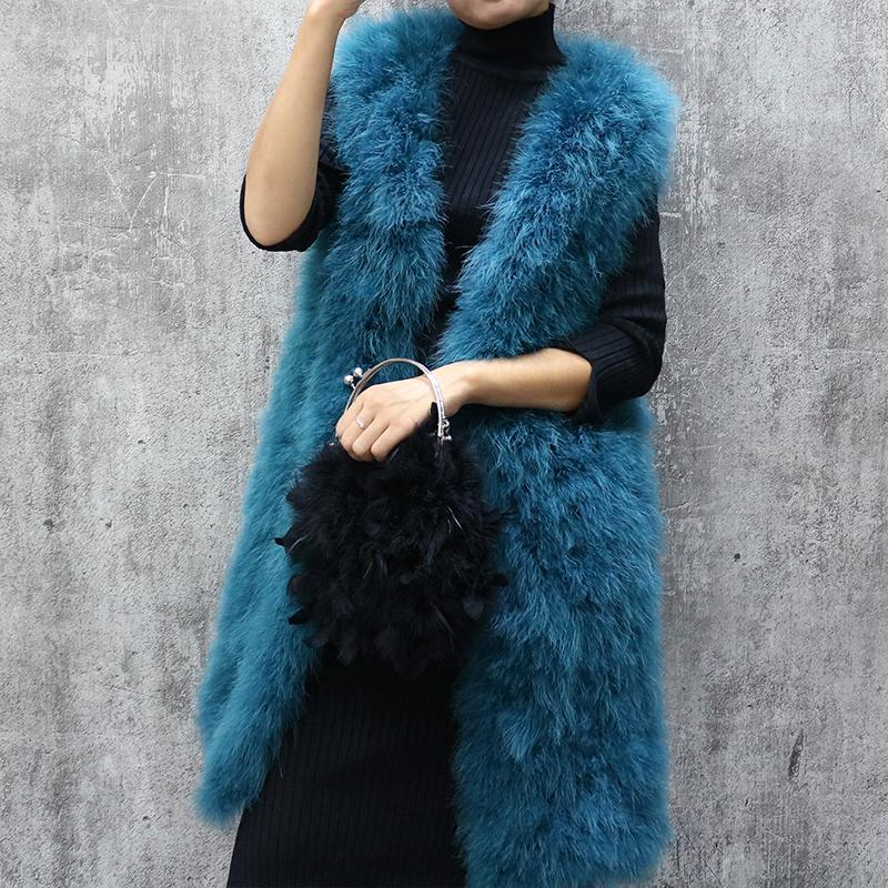 Long turkey fur vest autumn and winter women's sleeveless slim solid color V-neck ostrich feather waistcoat female Y190925