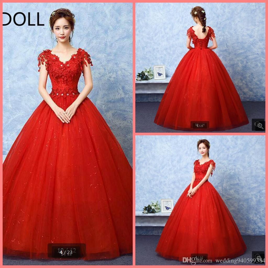 Compre Vestidos De Novia Cortos 2019 Vestido De Fiesta Gorra Manga Rojo Encaje Vestidos De Novia Baratos Con Cuentas Musulmán Formal Bohemio Vestido