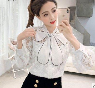 شحن مجاني جديد وصول حار بيع الأزياء النسائية النسخة الكورية سوبر الجنية الشيفون القوس الشريط واحدة برستد الحرير أعلى قميص المد