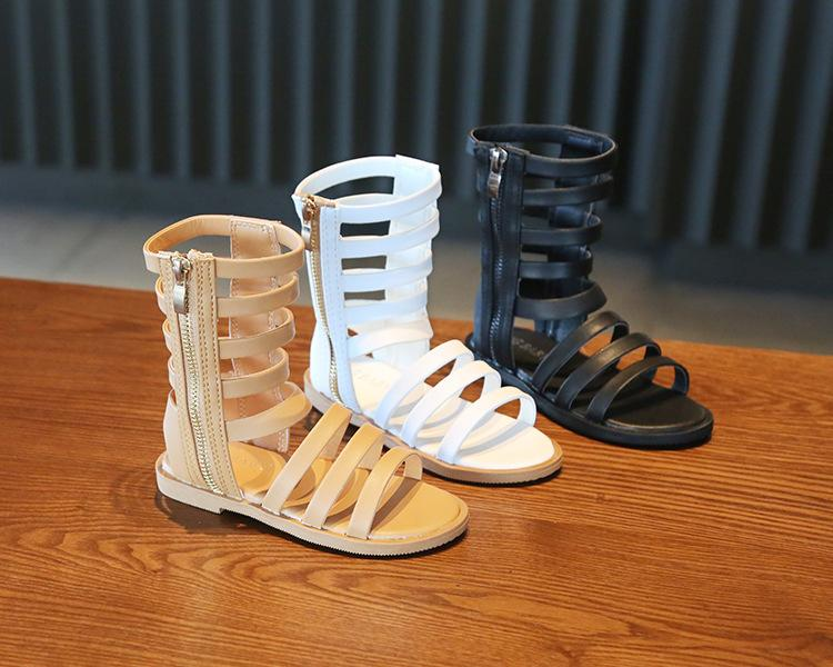 Kids shoes Summer Roman Boots High-top Girls Sandals Kids Gladiator Sandals Toddler Child Girls High Quality Shoes 3 Colors