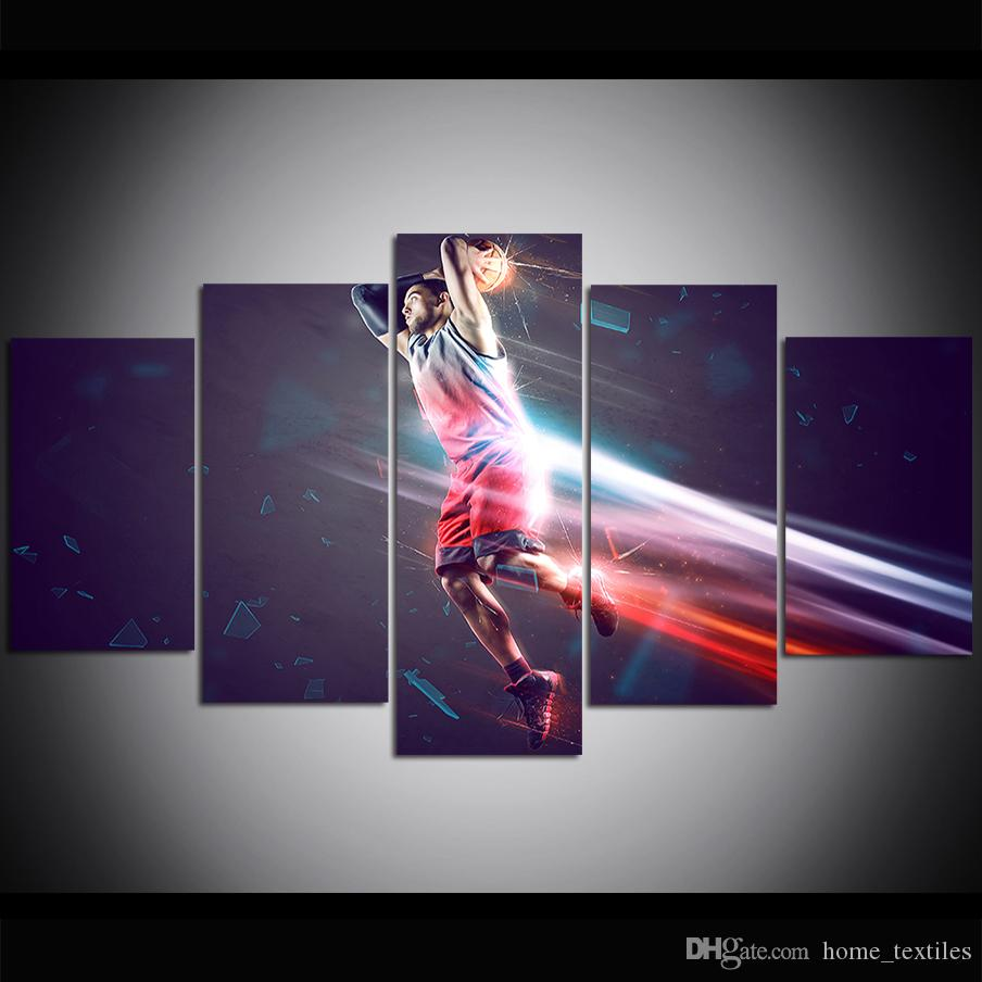 5 Piece Large Size Sport Wall Art Basketball Canvas Print Oil Painting Wall Art Pictures for Living Room Paintings Wall Decor