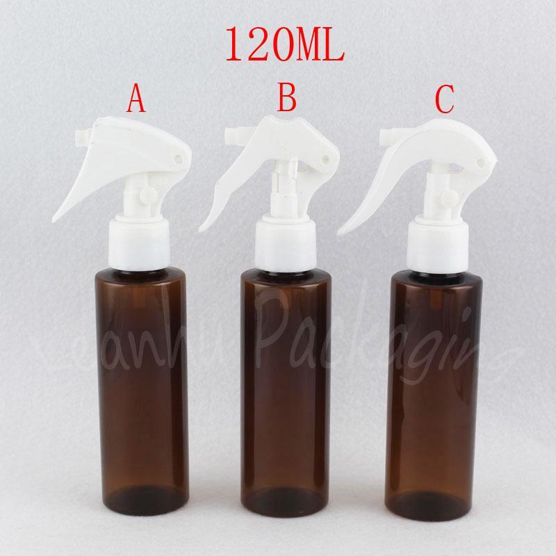 120ML Braun flache Schulter Plastikflasche Mit Trigger-Spray-Pumpe, 120cc Toner, leeren kosmetischen Behälter