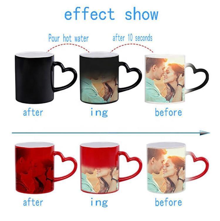 사용자 정의 매직 커피 컵 개인화 이미지 사진 컬러 머그잔 선물 마법 자신의 아이디어를 넣어 변경
