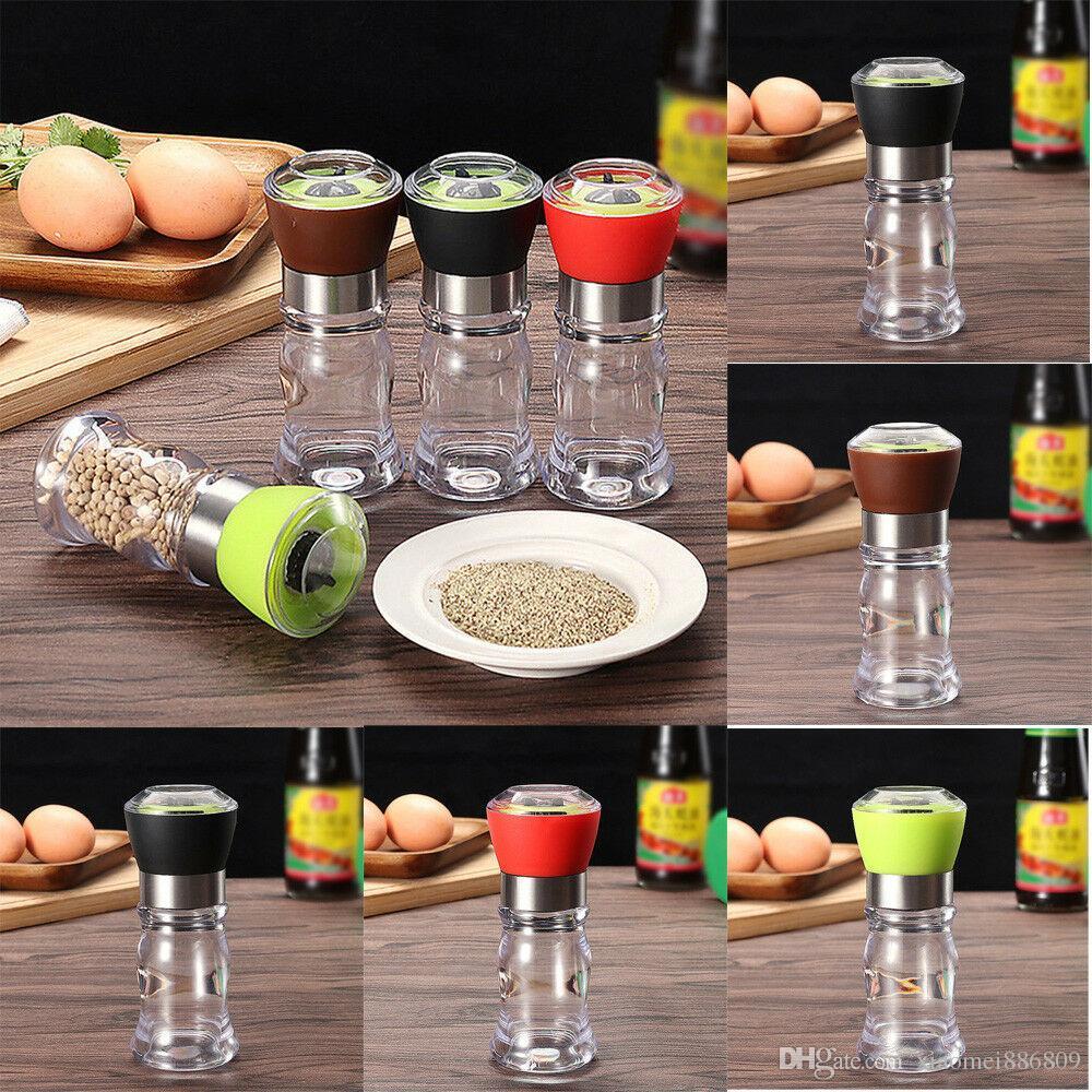 جديد 1PCS الفلفل الملح مطحنة مجموعة 4 ألوان البلاستيك مطحنة ناعم الفولاذ المقاوم للصدأ مطبخ زجاج زجاجة بالجملة الساخن