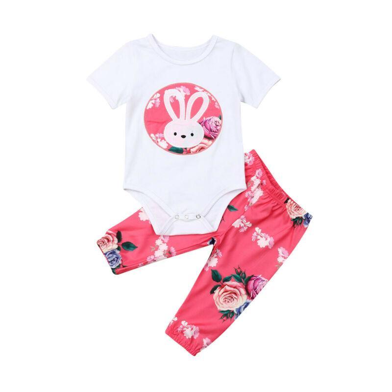 2PCS Vestuário-Set Romper Flor Coelho recém-nascido floarl Pant Long Outfits Criança Baby Girl Kid infantil Moda 0-24M bonito