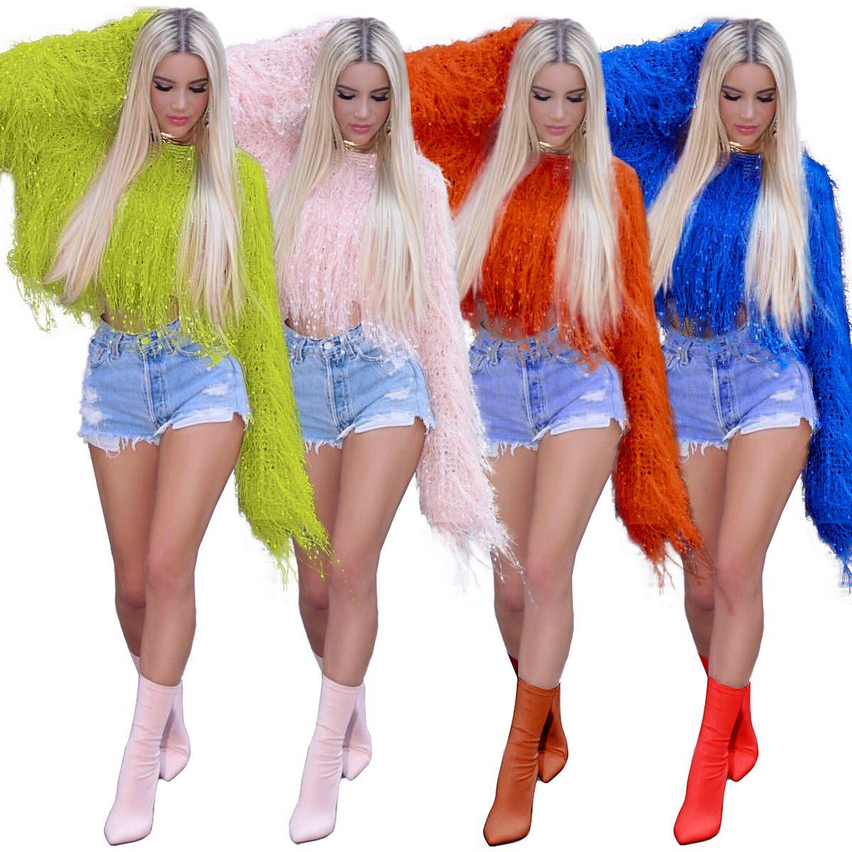 Seksi Kış Triko Kadınlar Ç Boyun Püskül Uzun Batwing Sleeve Gevşek Casual Kazak Sweetwear Mahsul Tops kızlar Giysiler