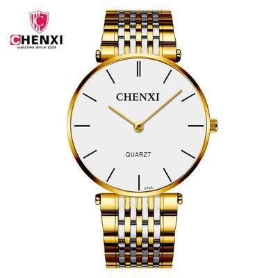 Chenxi marca oficialmente vende um par de aço ultra-fino casal impermeável relógio homens e mulheres assistir quartzo relógio fábrica direta 072A