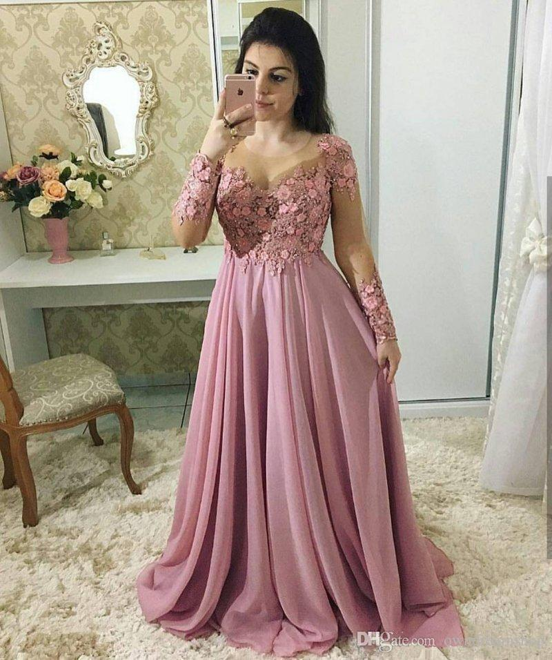 Stunning Lace Dresses Evening Wear With Long Sleeves Sheer Jewel Neck Beaded Prom Gowns Vestidos De Fiesta Sweep Train Chiffon Formal Dress