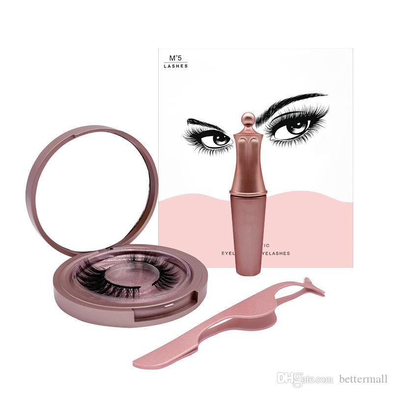 Professional 5 magnetic eyelashes set comes with magnetic liquid eyeliner lashes tweezer handmade reusable fake lashes DHL Free