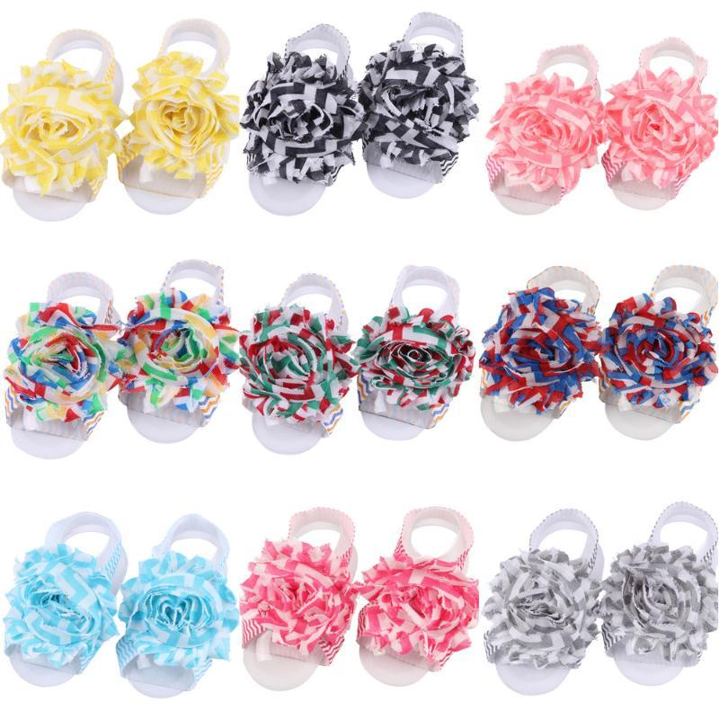 13pcs / lot Sparren schäbig trim BlumeChiffon- Blumenstirnband-Baby-Fuß-Stirnband-Armband-Haar-Bänder barfüßigsandelholze
