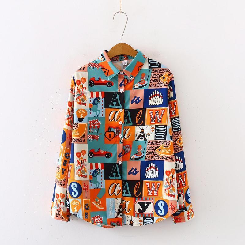 2020 Primavera Verão harajuku streetwear Mulheres Blusas camisa de manga comprida Camisas Femininas Blusas femininas camisa impressão