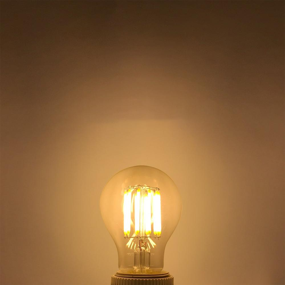 BRELONG Dimmable A60 Retro Edison LED Filament Light Bulb E27 COB Glass Bulb 2W/4W/6W/8W Filament AC220V for White Chandelier Crystal Lamp