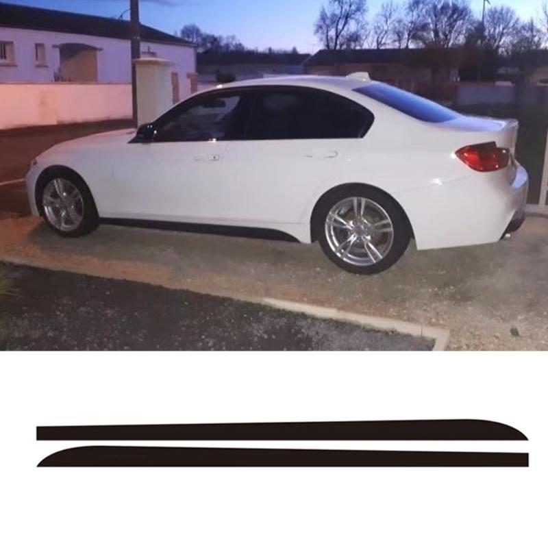 2pcs 2.05m Skirt Sill Decalcomania Striscia Striscia M Sticker per prestazioni per BMW F30 F22 23 Adesivi per auto