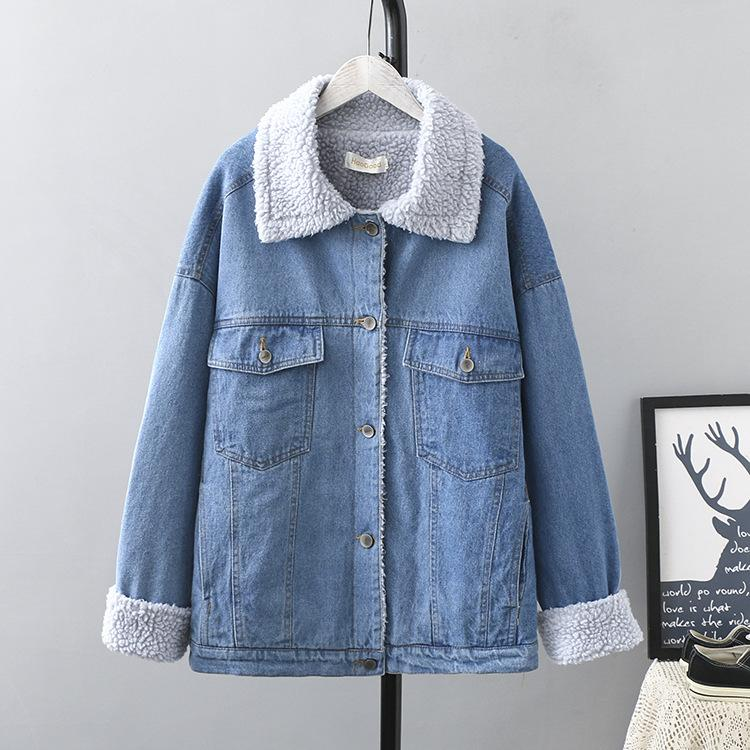 Winter Casual Denim Parkas 2019 Plus Size Clothing Fashion Loose Fleece lining Thick warm Padded Coats Women K1-H0572