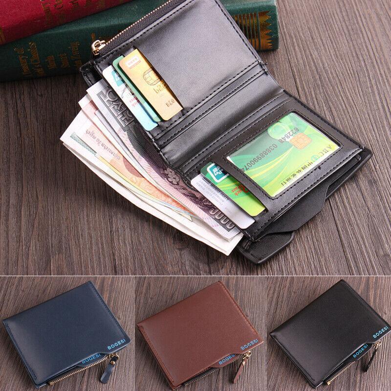 Brand New Style Men's Wallet Genuine Leather Credit Card Holder RFID Blocking Zipper Thin Pocket Wallet