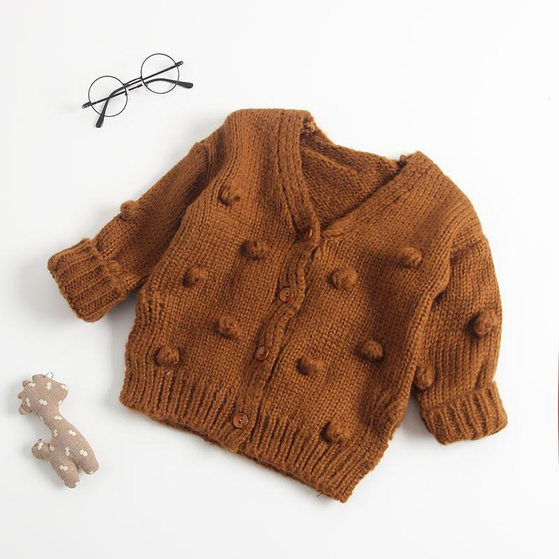 Autumn Winter Infant Kids Baby Girls Sweater Coats Warm Knitting Long Sleeve Hairball V Neck Sweaters Outfits Outwear