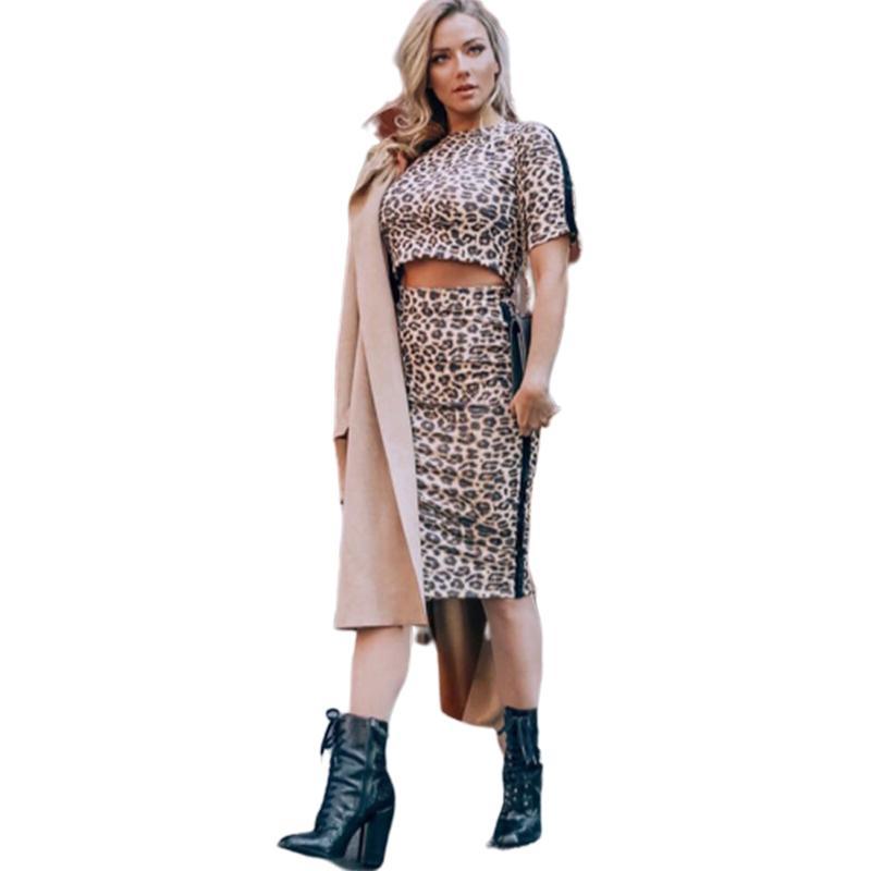 Wantmove 2019 novas mulheres de verão de duas peças sexy imprimir o-pescoço de manga curta lombar top slim saia moda casual de duas peças WM700