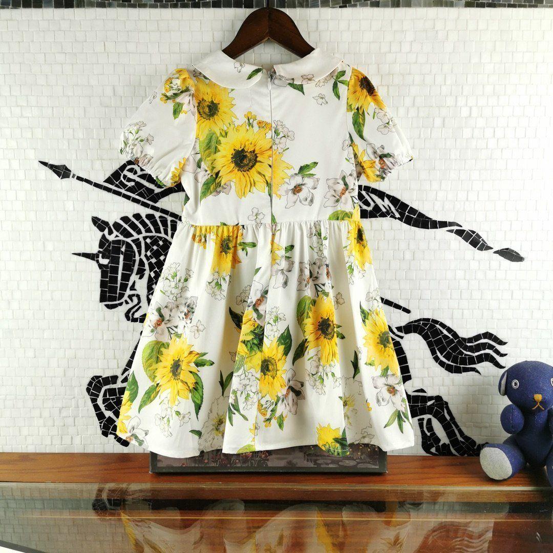 Girl Lapel Short Sleeve Tide high-quality fashion Sunflower Printing pattern Dress 030916