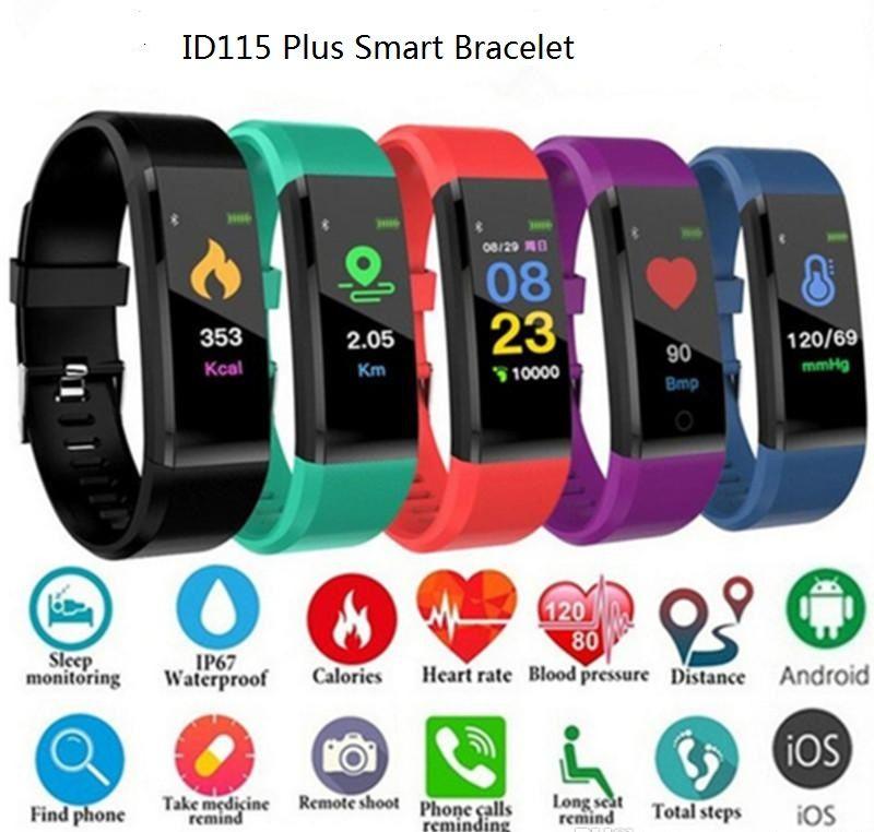 2019 LCD Ekran ID115 Artı Akıllı Bilezik Spor Izci Pedometre Watch Band Nabız Kan Basıncı Monitörü Akıllı Bileklik
