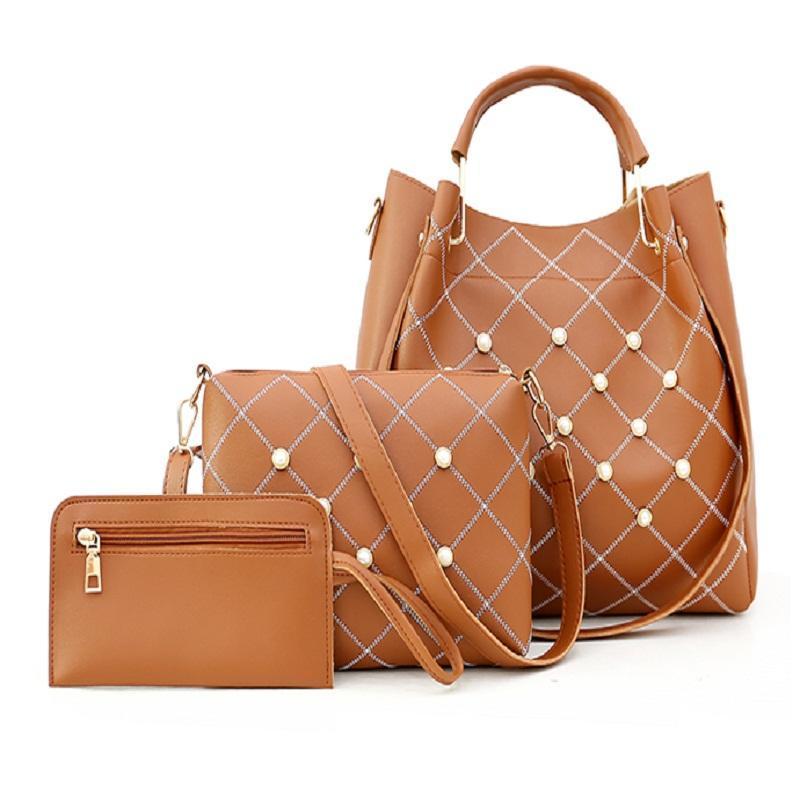 Rosa desenhador Sugao mulheres bolsa sacos de ombro pu 3pcs couro / set bolsas bolsa de luxo bolsa de compra da senhora