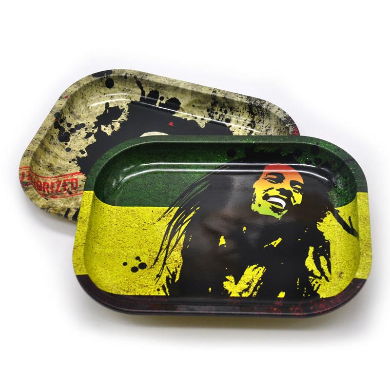 High Quality Metal Rolling Tray 6 pattern 18cm*14cm*1.5cm small size Bob Marley for rolling papers grinder smoking pipes Rolling Machine