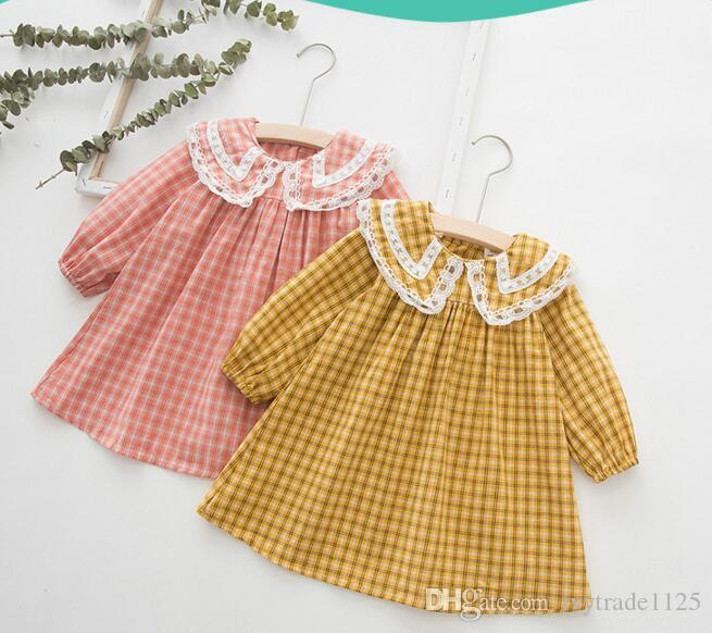 Menina Crianças roupas de grife Vestido Lolita estilo Xadrez Manta de Manga Longa Com Traingle Pet Pan Collar Vestido de Primavera Queda Princesa Vestuário Vestido