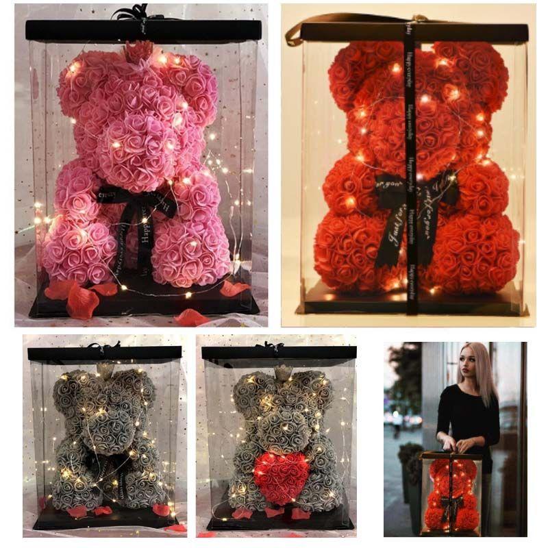 25CM 40CM الدب الورود مع LED علبة هدية الدب روز الصابون رغوة زهرة الاصطناعي هدايا السنة الجديدة للنساء الأحبة حفل زفاف HH9-2179