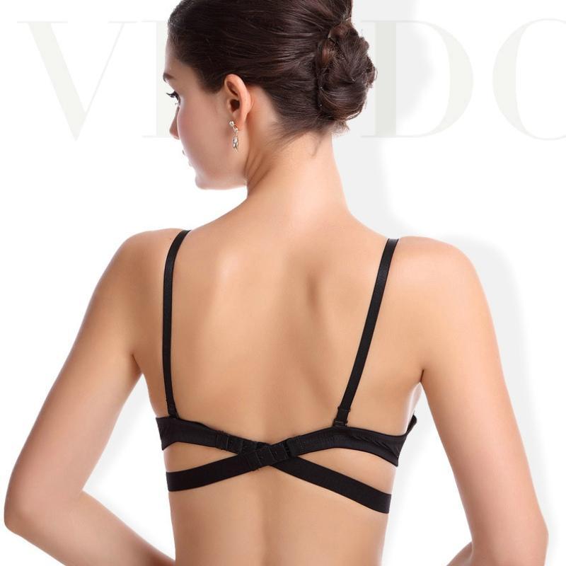 Estilo japonês profundo v push up sutiã strapless underwire roupa interior mulheres sexy soutien desfiladeiro fino meia xícara lingerie beldade back back