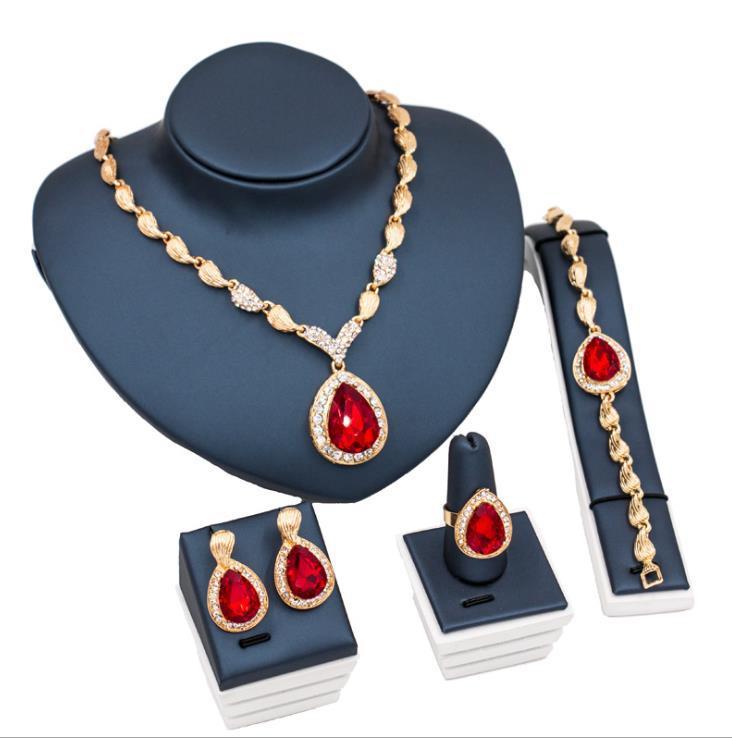 moda Sapphire sposa lega quattro piece Braccialetto Anello dell'orecchino della collana