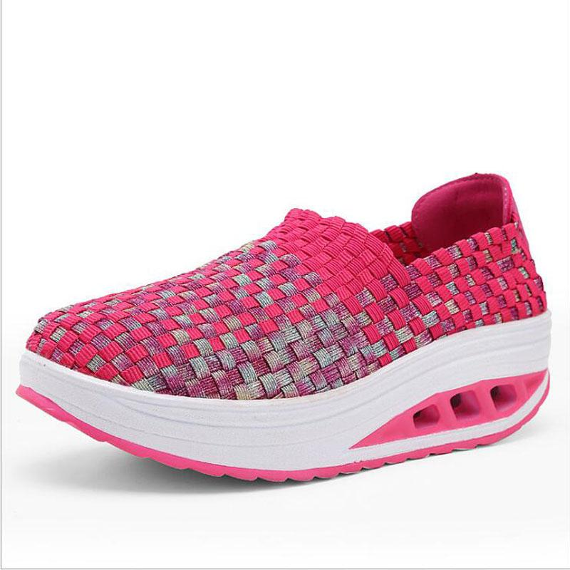 Горячая Продажа-BJYL женской обуви сетки ткани обуви дышащего склон с высокой платформой женских туфель летними вскользь ботинками женщин