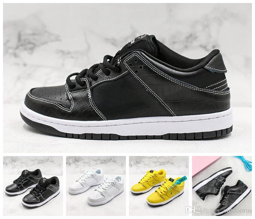 NIKE 2019 Yeni Moda Klasik Elmas Tedarik Co x SB Dunk Düşük PRO QS Kaykay Ayakkabı Erkekler Kadınlar Beyaz Siyah Sarı