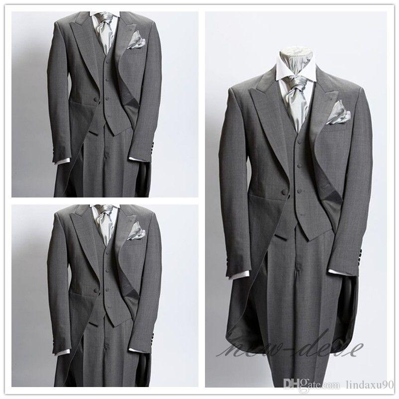 Wedding Tuxedos Dim Gray Trim 3Pcs Men's Suits With Tail Coat Slim Fit British Plaid Custom Tuxedos Jacket Pants Vest