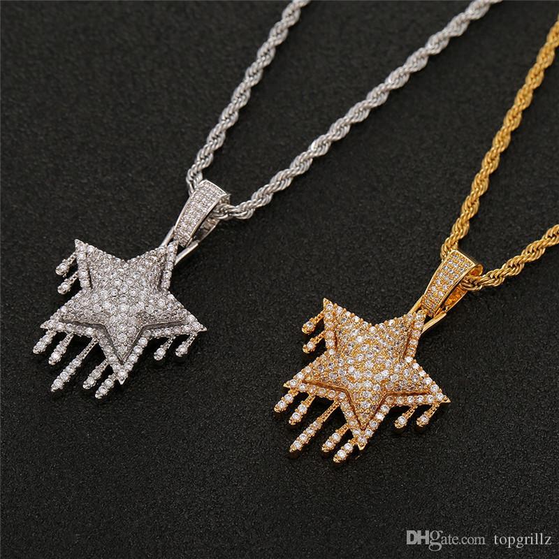 Ghiacciato fuori catena del Choker Tennis catena della stella Collana in Oro argento placcato Mens Hip Hop gioielli regalo