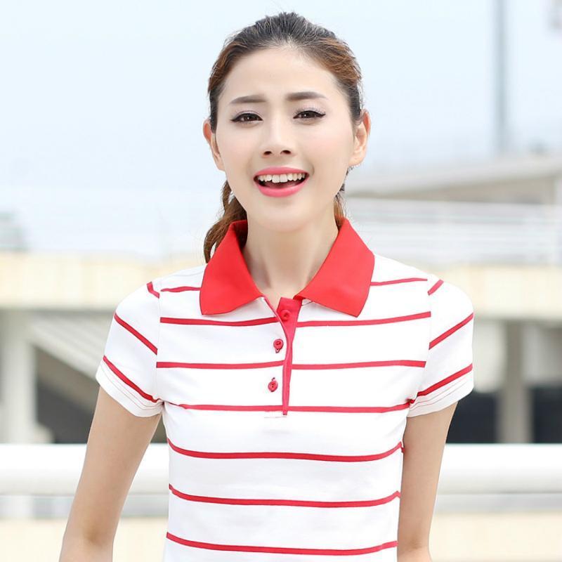 Polo donne 2017 vendita calda di estate POLO Femme Raph Turn-Giù Collare cotone manica corta a righe supera Big Size Plus Size