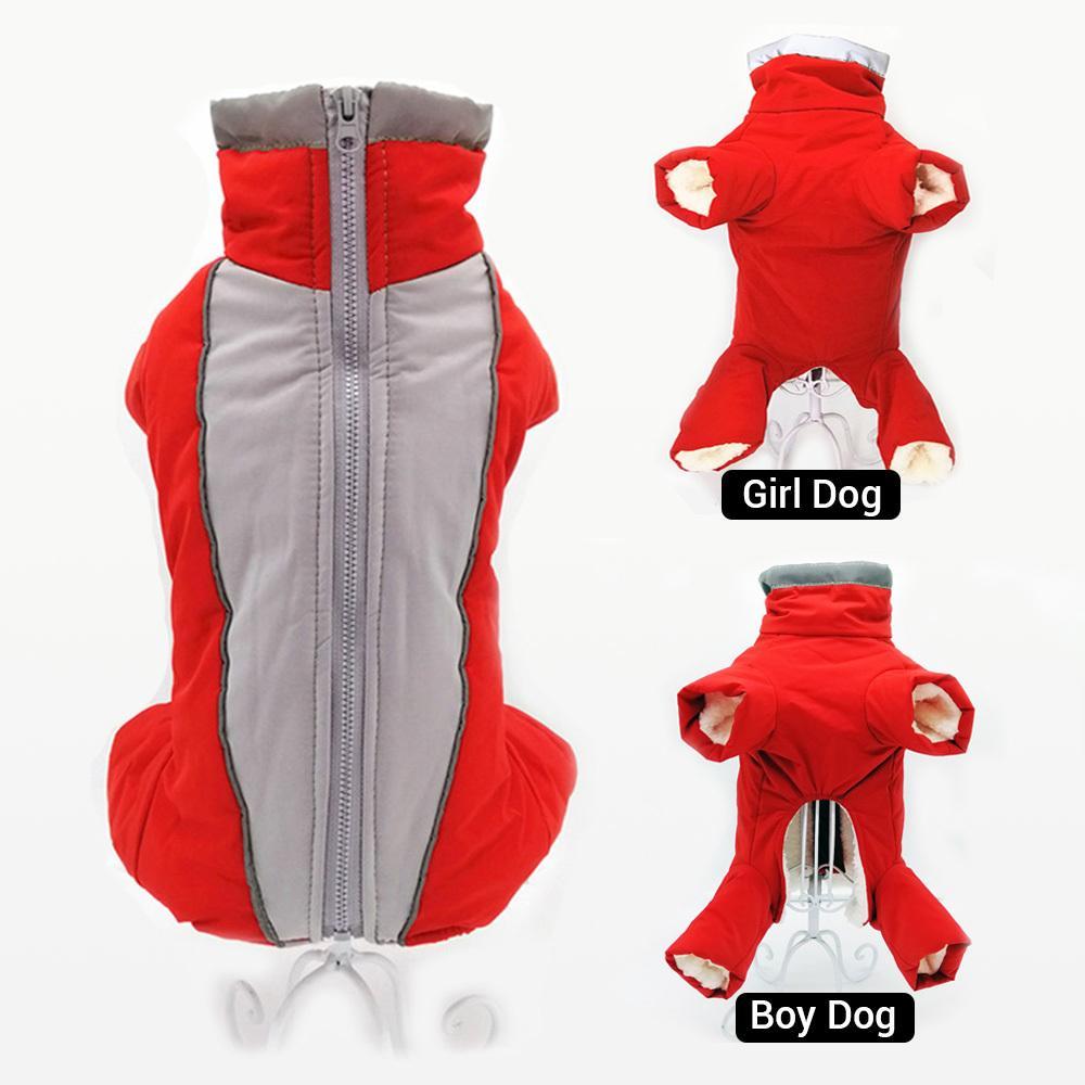 Roupa de inverno para cães quente e impermeável Pet Jumpsuit Calças Homem / cão masculino Reflective pequeno roupas para cachorros Filhote de Down Jacket Y200330