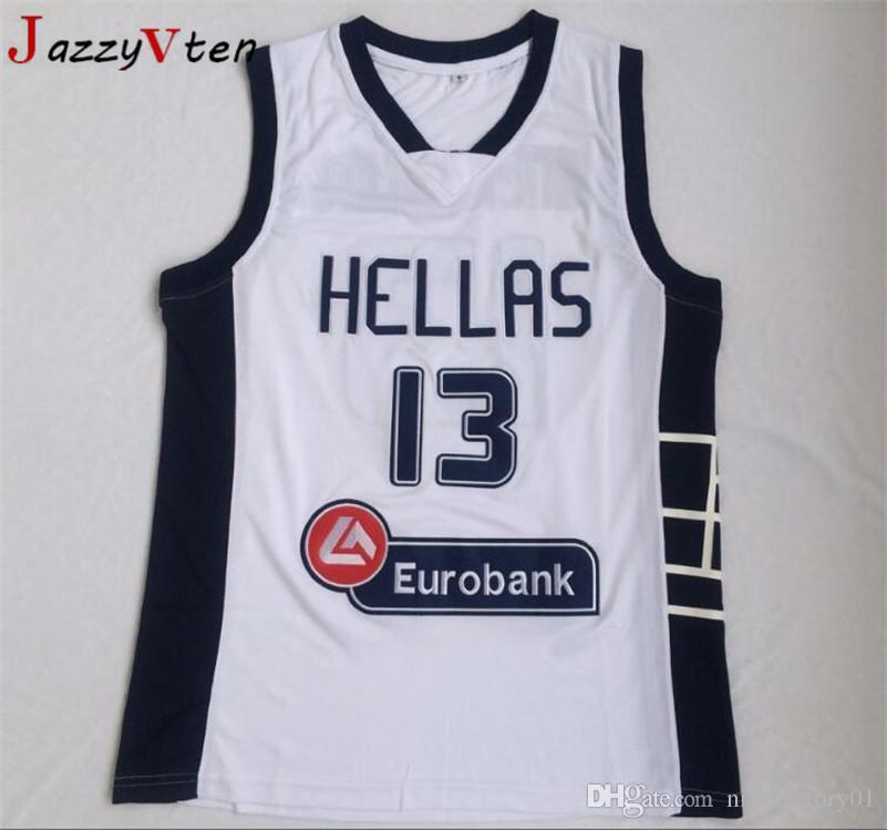 유럽 농구 그리스 헬라스 대학 유니폼 13 Giannis Antetokounmpo 저지 남성 화이트 팀 스포츠 통기성 통일 최고 품질