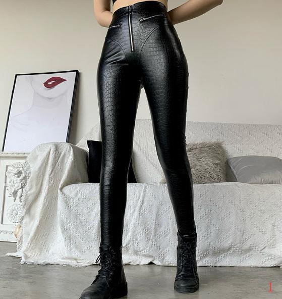 Para mujer de diseño melocotón glúteos cuero de los pantalones de talle alto apretado europea y americana Cuerpo atractivo del estilo de alta elástico Pantalones PH + ZY20040305