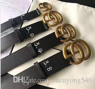 2020 mode ceinture homme Ceinture en cuir femme homme ceinture femme lisse solide grande boucle 2.0 / 3.0 / 3.4 / 3,8 mm Largeur du bracelet Jeans