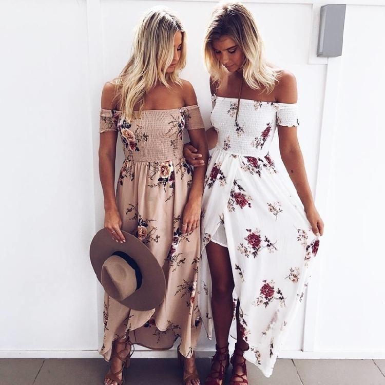 تسرب نساء الصيف معطلة الشاطئ الكتف الطباعة فستان ماكسي مثير قصيرة الأكمام فستان أبيض طويل vestidos فستان عارضة HOTSELL