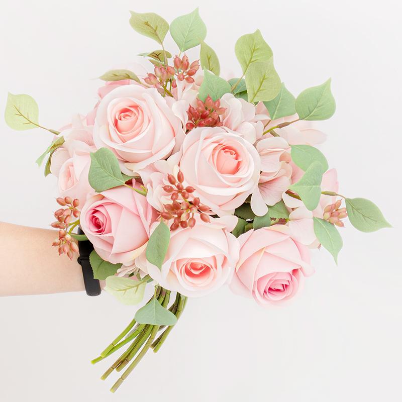 큰 장미 인공 꽃다발 신부 꽃 실크 수국 큰 가짜 꽃 핑크 유칼립투스 베리 크리스마스 웨딩 홈 장식