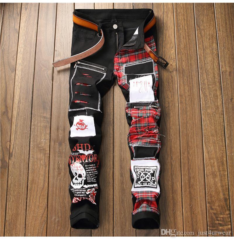 Sokotoo 남성의 두개골 인쇄 스코틀랜드 격자 무늬 패치 워크 청바지 유행 패치 디자인 블랙 고민 데님 긴 바지를 찢어