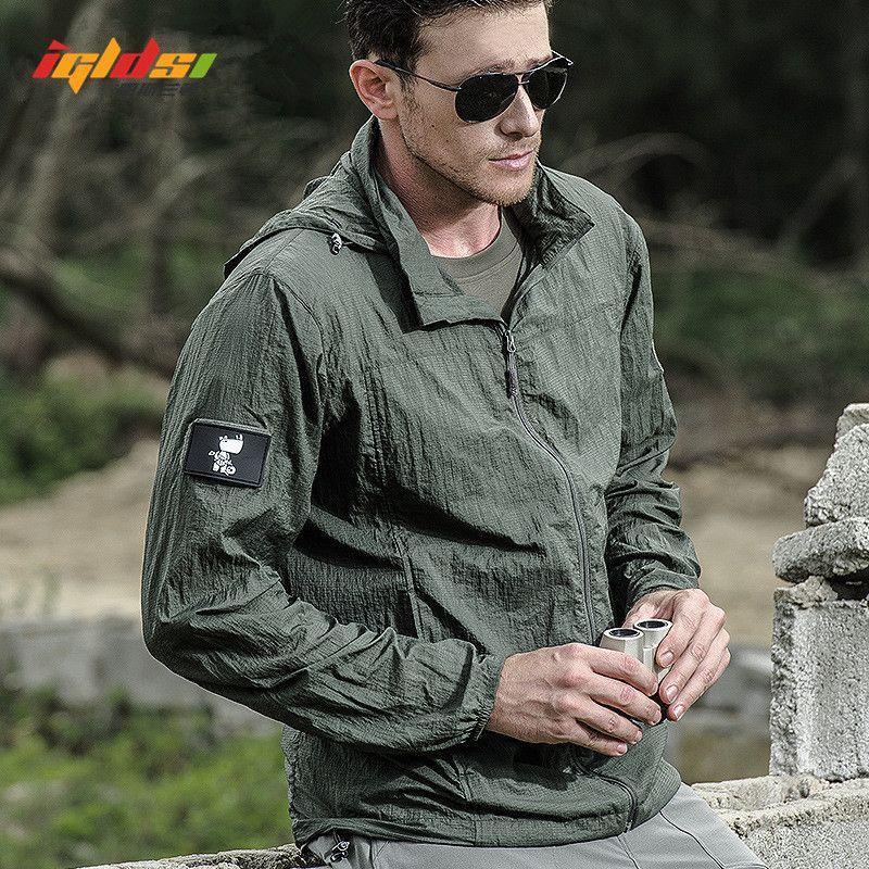 Summer Waterproof Quick Dry Tactical Skin Jacket Men Hooded Raincoat Thin Windbreaker Sunscreen Army Military Jacket