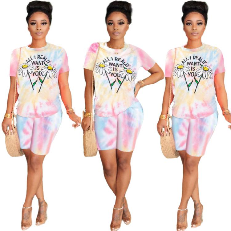 2020 Donne Set Summer TrackSuits Patchwork Abbigliamento sportivo Tops + Shorts Two Piece Suit Set Club Party Street 2 Pezzi Abiti sexy