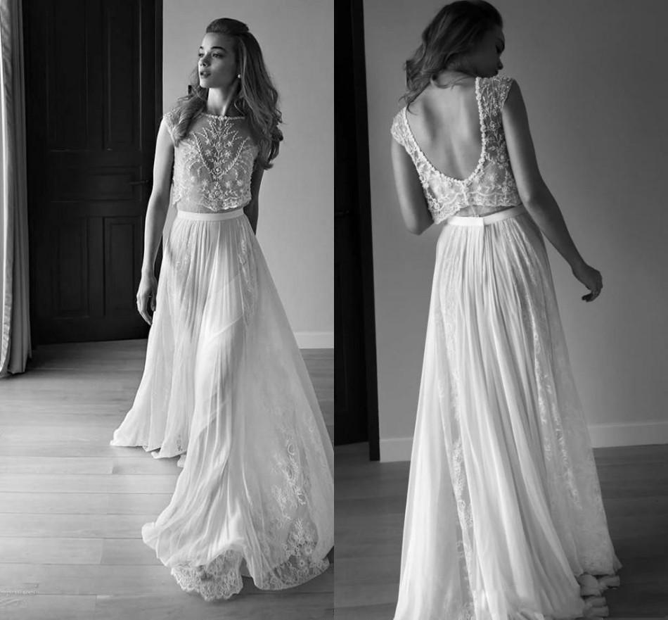 2020 Vestidos de Noiva Dois Peça Sweetheart Sem Mangas Baixo Voltar Pérolas Beading Lantejoulas Lace Chiffon Beach Boho Boho Bohemian Vestidos de Noiva
