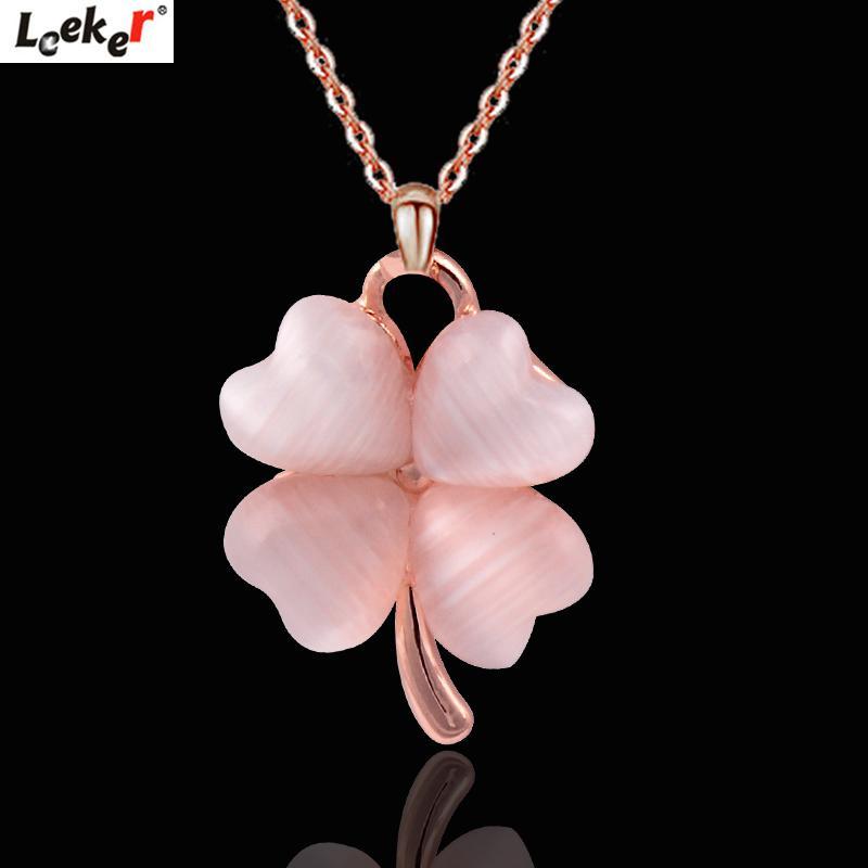 Catena pendente del fiore LEEKER Rosa White Opal Collana in oro rosa di colore dell'argento della collana del Choker per le donne Monili 076 lk8
