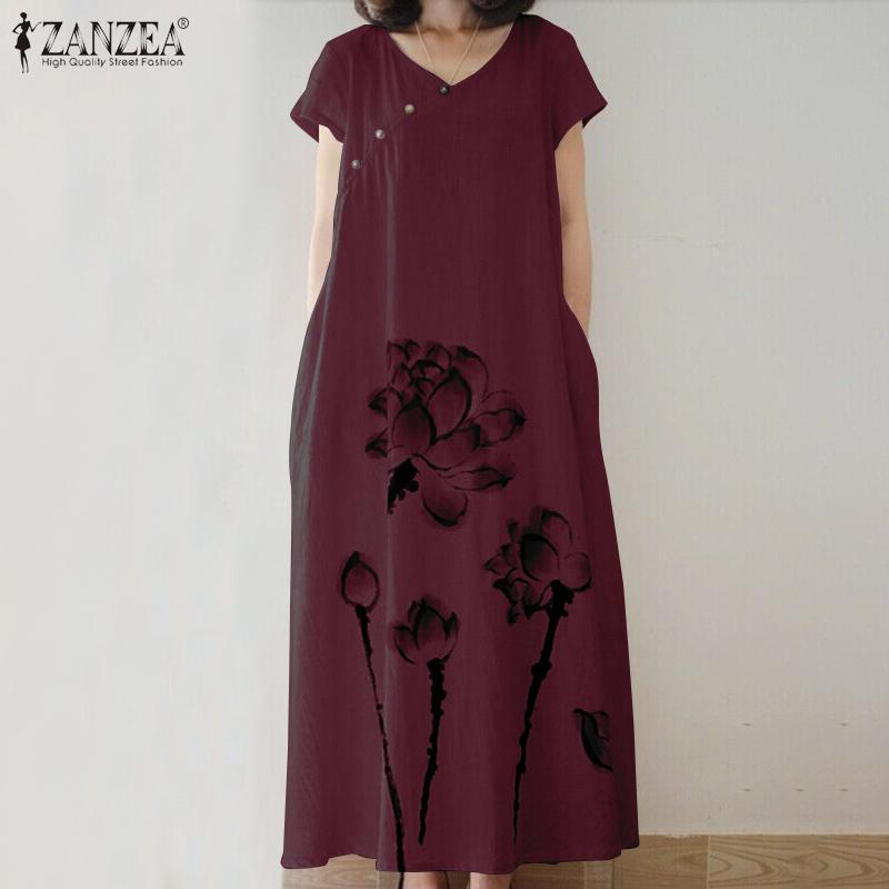 ZANZEA Yaz Vintage Çiçek Baskılı Sundress Kadın V yaka Kısa Kollu Pamuk Keten Elbise Gevşek Vestido Kaftan Elbise Baghee