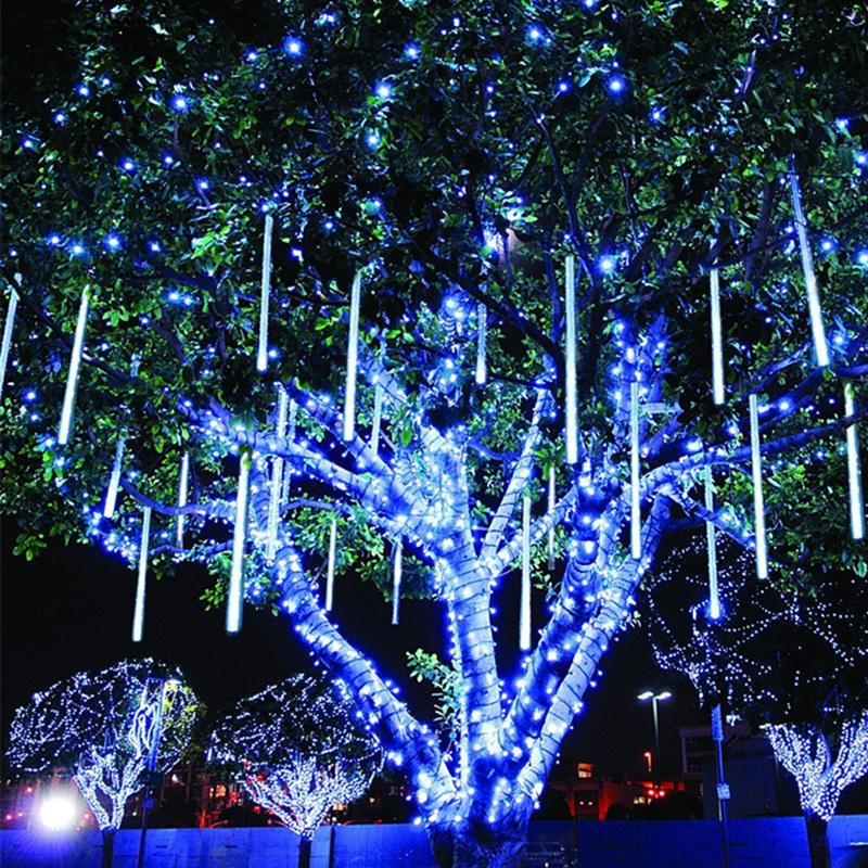30CM بقيادة النيزك دش المطر أنبوب جارلاند الضوء في الهواء الطلق سلسلة ديكور عيد الميلاد للمنزل زخرفة عيد الميلاد نيفيداد ناتال السنة الجديدة