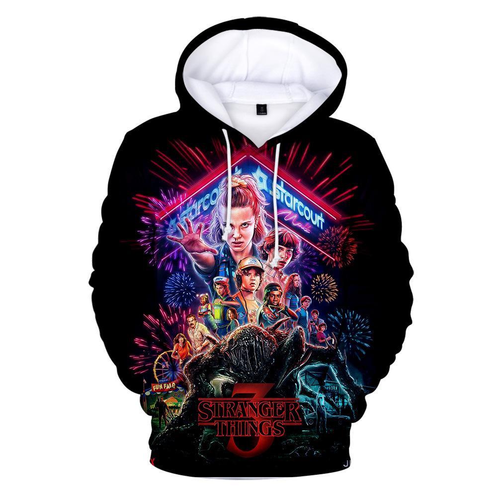 Stranger Things Season 3 3D Printed Women/men Hoodies Sweatshirts Boys/girls Upside Down Eleven Long Sleeve Funny Hooded Jacket