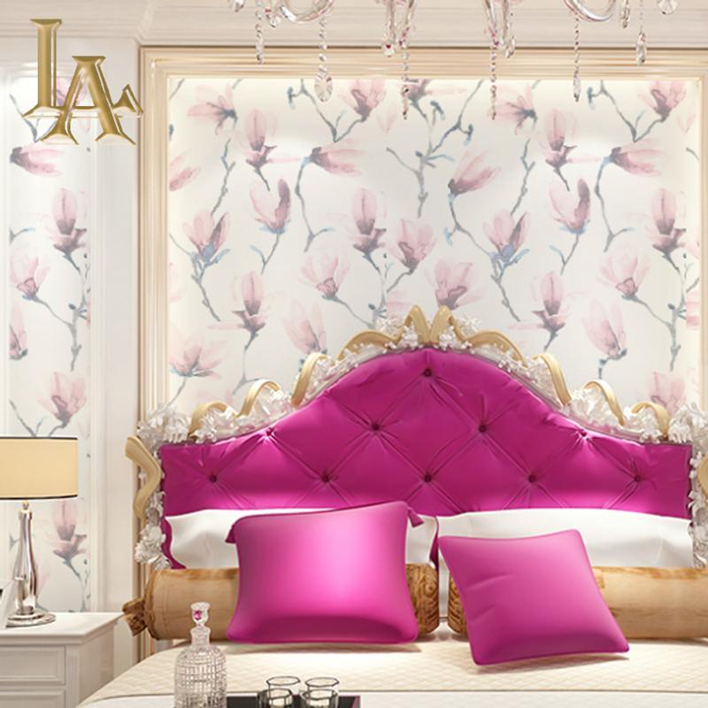 중국어 잉크 그림 스타일 우아한 꽃 배경 화면 여자 룸 침실 화이트 그레이 핑크를위한 홈 인테리어 부직포