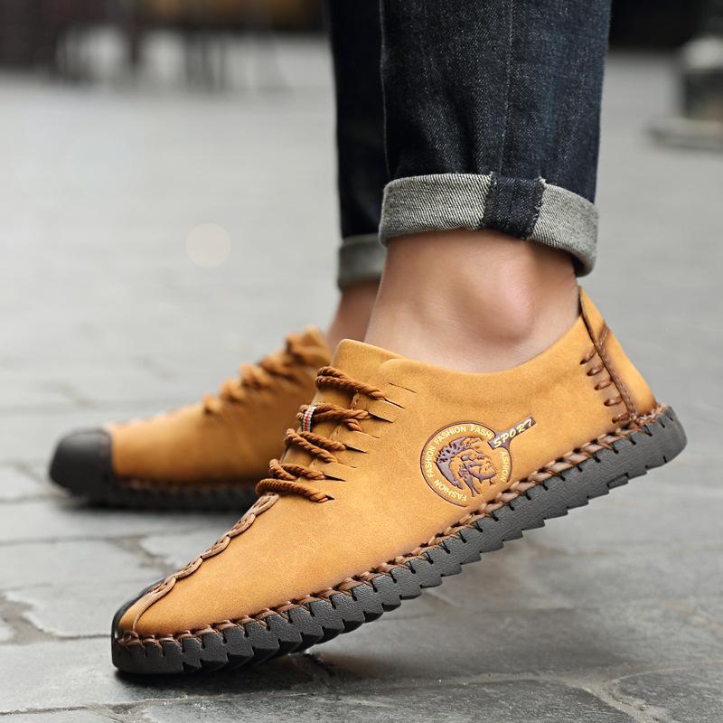 الأزياء عارضة الأحذية الجلدية الرجال لينة وحيد الأخفاف الجلود الناعمة الدانتيل متابعة kpoccobkn أحذية الرجال المتسكعون